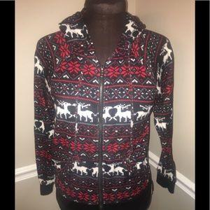Forever 21 Christmas zip up Hoodie sweatshirt S